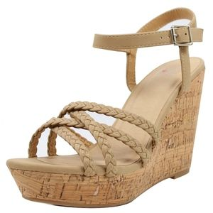 Shoes - Natural Open toe braid strappy cork wedge